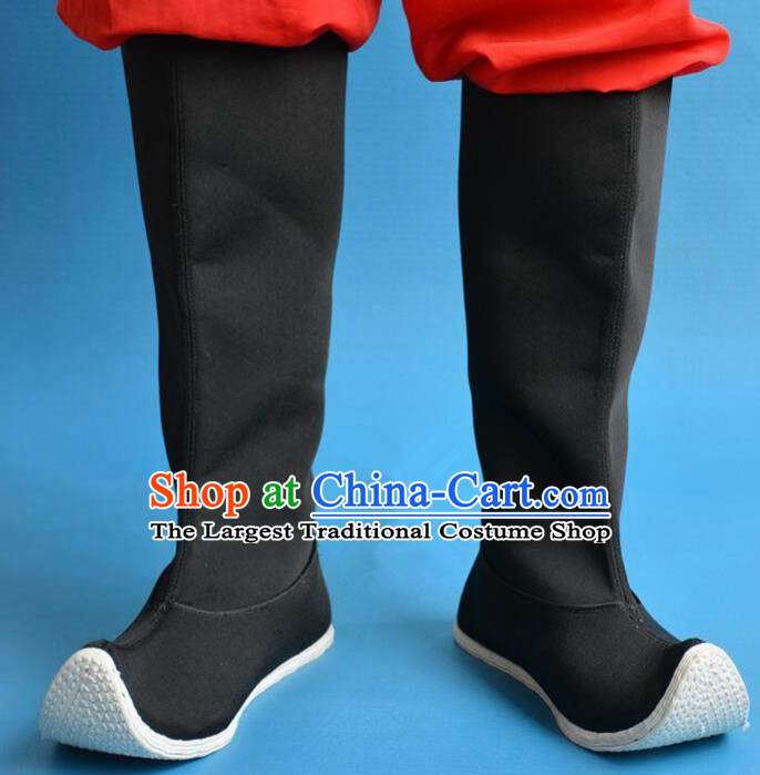 Chinese Traditional Beijing Opera Shoes Ancient Han Dynasty Swordsman Black Boots for Men