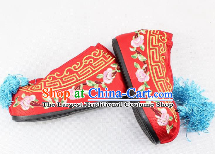 Chinese Traditional Beijing Opera Red Blood Stained Shoes Ancient Handmade Princess Embroidered Shoes for Women