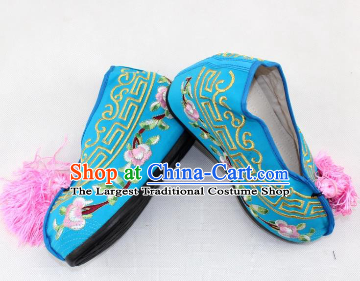 Chinese Traditional Beijing Opera Blue Blood Stained Shoes Ancient Handmade Princess Embroidered Shoes for Women