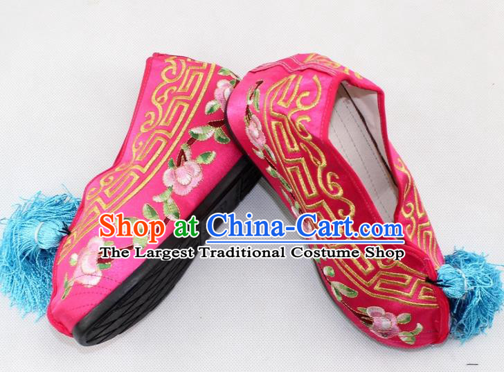 Chinese Traditional Beijing Opera Rosy Blood Stained Shoes Ancient Handmade Princess Embroidered Shoes for Women