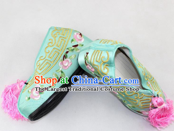 Chinese Traditional Beijing Opera Green Blood Stained Shoes Ancient Handmade Princess Embroidered Shoes for Women