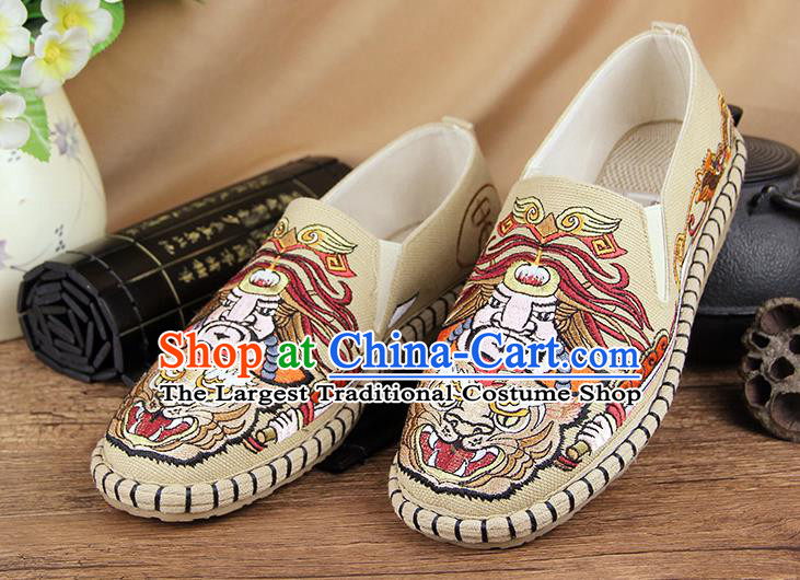 Chinese National Shoes Traditional Beige Cloth Shoes Embroidery Multi-layered Shoes for Men