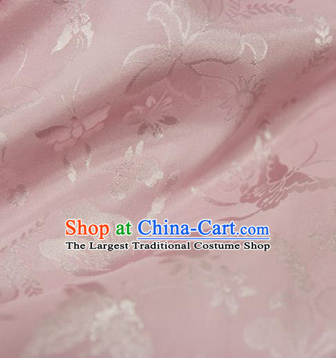 Asian Chinese Traditional Pink Jacquard Silk Fabric Ancient Hanfu Brocade Fabric Drapery Material