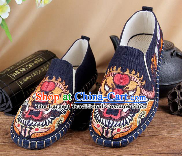 Chinese National Shoes Traditional Cloth Shoes Embroidery Navy Shoes for Men