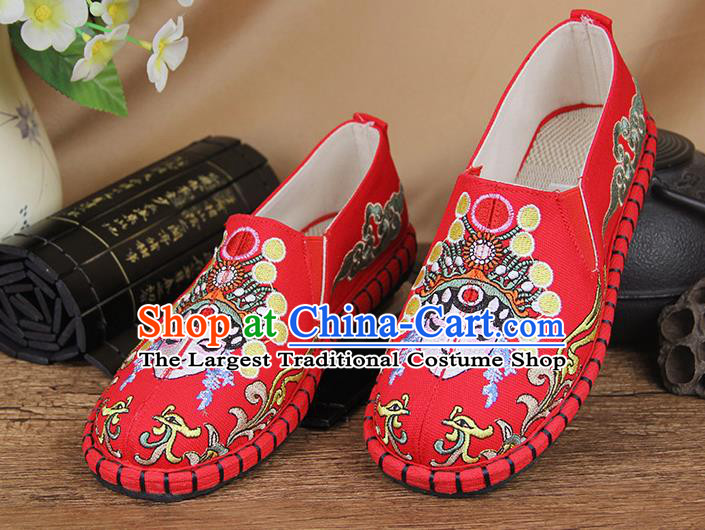 Chinese National Handmade Shoes Traditional Cloth Shoes Embroidery Red Shoes for Women
