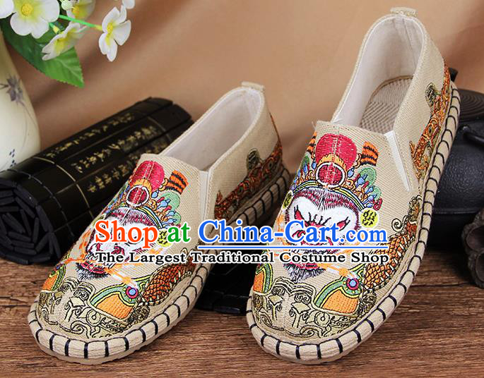 Chinese National Handmade Shoes Traditional Cloth Shoes Embroidery Monkey King Beige Shoes for Women