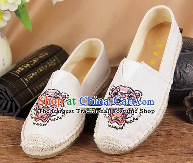 Chinese National Handmade Shoes Traditional Cloth Shoes Embroidery Tiger White Shoes for Women