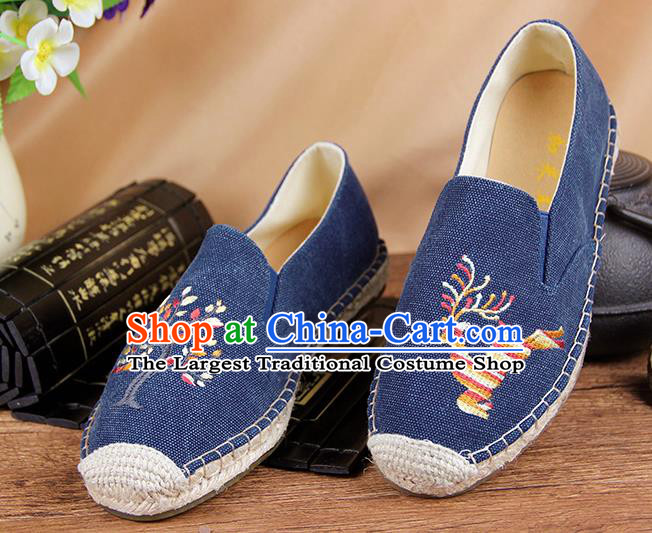 Chinese National Handmade Shoes Traditional Cloth Shoes Embroidery Deer Blue Shoes for Women