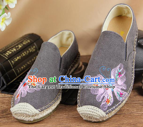 Chinese National Handmade Shoes Traditional Cloth Shoes Embroidery Butterfly Grey Shoes for Women