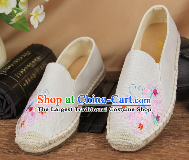 Chinese National Handmade Shoes Traditional Cloth Shoes Embroidery Butterfly White Shoes for Women