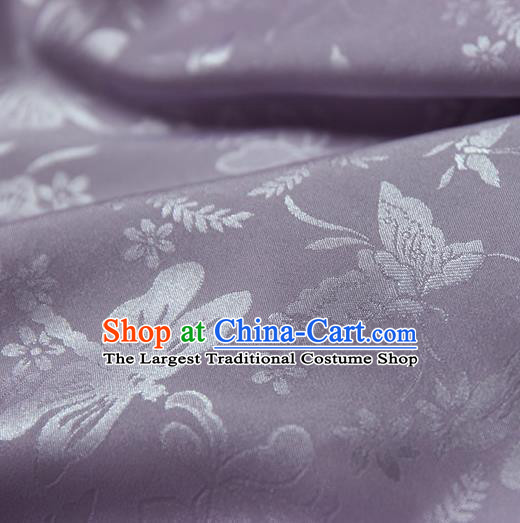 Asian Chinese Traditional Purple Jacquard Silk Fabric Ancient Hanfu Brocade Fabric Drapery Material