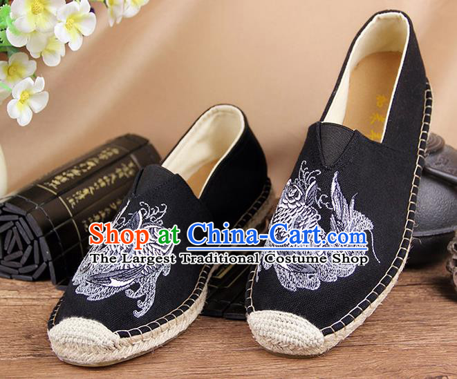 Chinese National Shoes Traditional Black Cloth Shoes Embroidery Martial Arts Shoes for Men