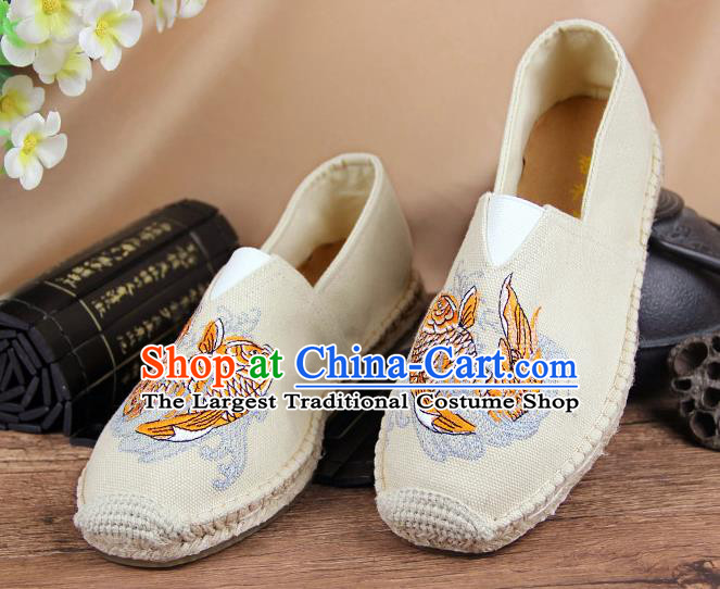 Chinese National Shoes Traditional Beige Cloth Shoes Embroidery Martial Arts Shoes for Men