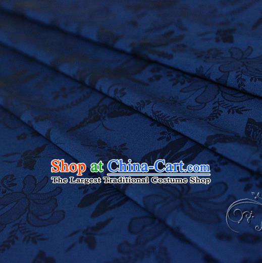 Asian Chinese Traditional Deep Blue Jacquard Silk Fabric Ancient Hanfu Brocade Fabric Drapery Material