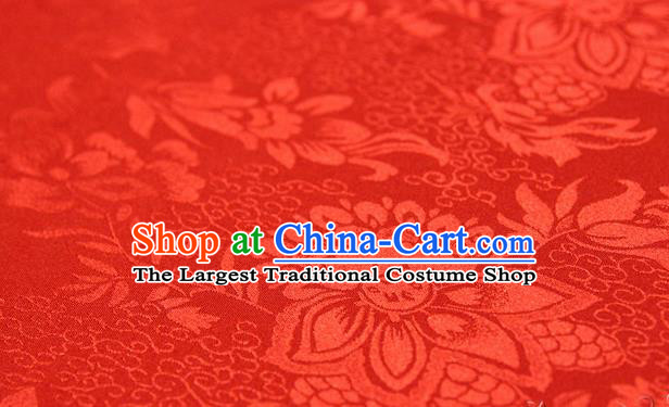 Asian Chinese Traditional Red Silk Fabric Ancient Hanfu Jacquard Brocade Fabric Drapery Material