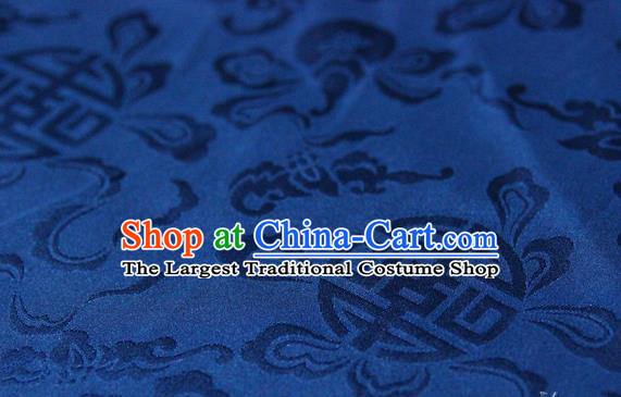 Asian Chinese Traditional Deep Blue Silk Fabric Ancient Hanfu Jacquard Brocade Fabric Drapery Material