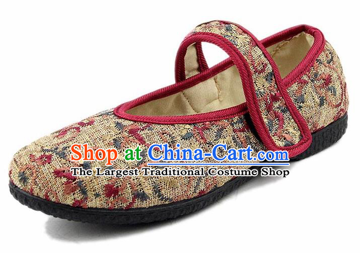 Chinese National Handmade Shoes Traditional Cloth Shoes Beige Shoes for Women