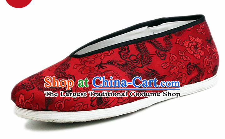 Chinese National Shoes Traditional Cloth Shoes Red Satin Shoes for Men