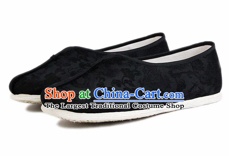 Chinese National Cloth Shoes Traditional Embroidered Shoes Black Satin Shoes for Men