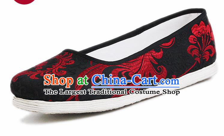 Chinese National Handmade Cloth Shoes Traditional Shoes Embroidered Black Satin Shoes for Women