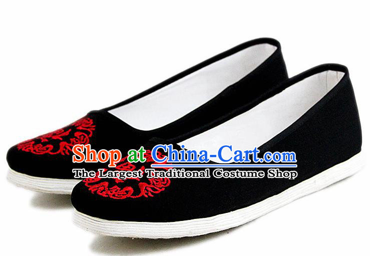 Chinese National Handmade Cloth Shoes Traditional Shoes Embroidered Black Shoes for Women