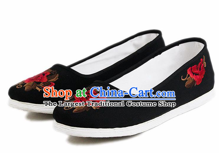 Chinese National Handmade Cloth Shoes Traditional Shoes Embroidered Red Peony Shoes for Women