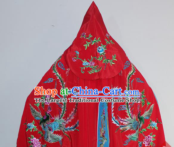 Chinese Traditional Peking Opera Diva Costumes Ancient Princess Embroidered Red Cloak for Women