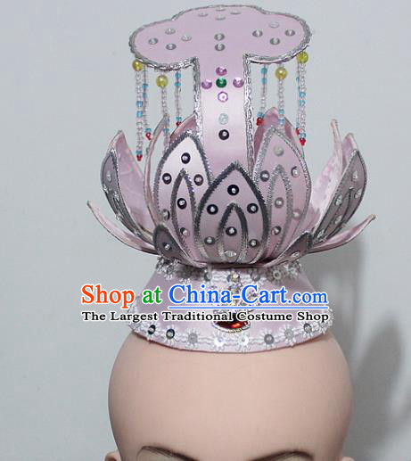 Chinese Traditional Peking Opera Hair Accessories Ancient Prince Pink Lotus Hair Crown Headwear for Men