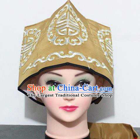 Chinese Traditional Peking Opera Old Gentleman Hat Ancient Ministry Councillor Khaki Hat for Men