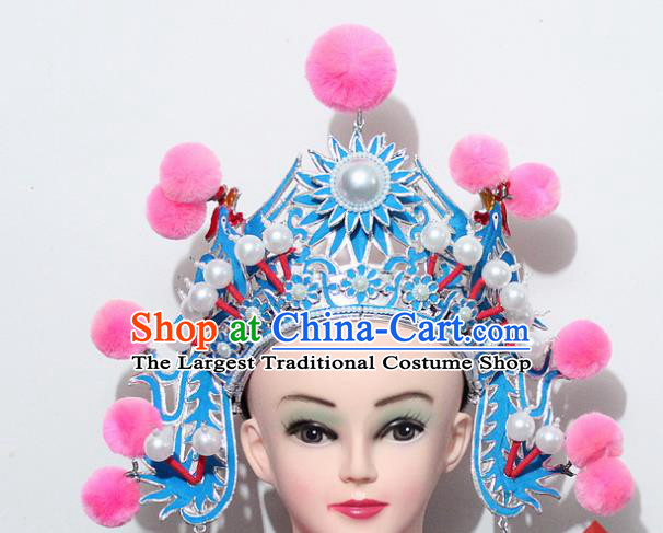 Chinese Traditional Peking Opera Blues Hair Accessories Ancient Female Warriors Pink Venonat Helmet for Women