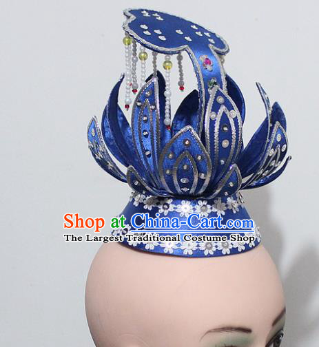 Chinese Traditional Peking Opera Hair Accessories Ancient Prince Blue Lotus Hair Crown Headwear for Men