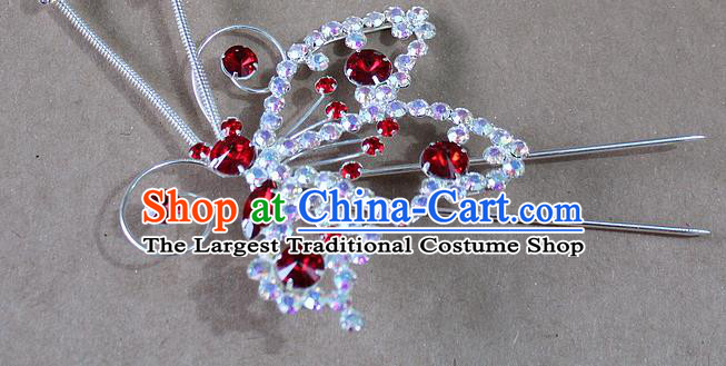 Chinese Traditional Peking Opera Diva Hair Accessories Ancient Princess Red Crystal Butterfly Hairpins for Women