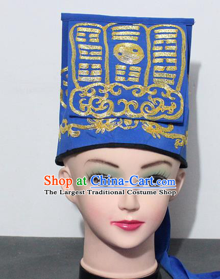 Chinese Traditional Peking Opera Taoist Blue Hat Ancient Taoism Handkerchief for Men