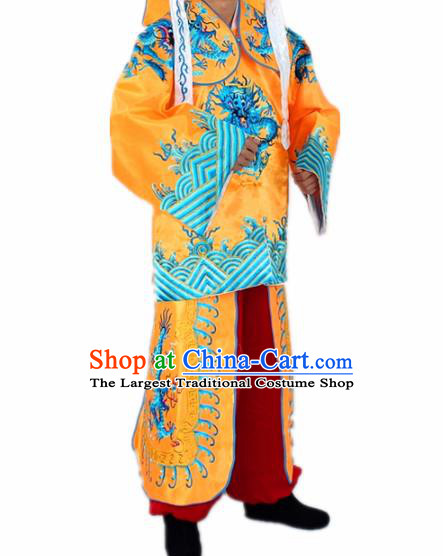 Chinese Traditional Peking Opera Takefu Yellow Costumes Ancient Imperial Bodyguard Swordsman Clothing for Men