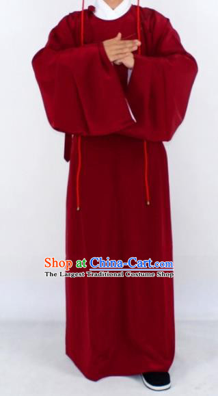 Chinese Traditional Peking Opera Niche Wine Red Robe Ancient Scholar Costume for Men