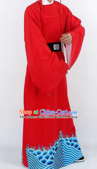 Chinese Traditional Peking Opera Niche Red Robe Ancient Imperial Bodyguard Costume for Men