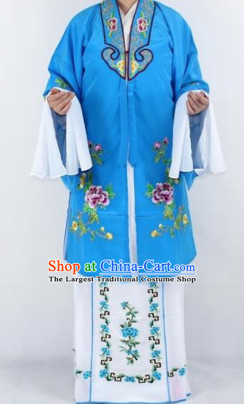 Chinese Traditional Peking Opera Actress Costumes Ancient Nobility Lady Blue Cloak for Women