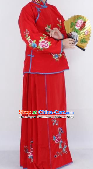 Chinese Traditional Peking Opera Young Lady Costumes Ancient Maidservants Red Dress for Women