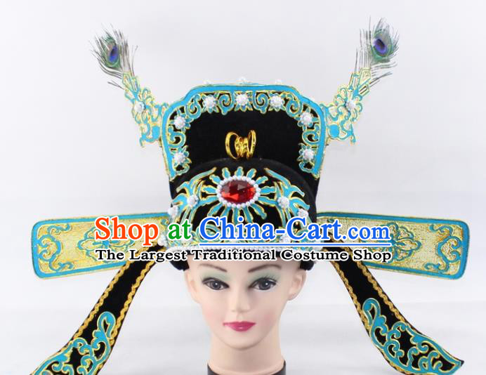 Chinese Traditional Peking Opera Niche Headwear Ancient Scholar County Magistrate Hat for Men