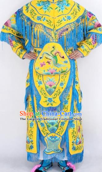 Chinese Traditional Peking Opera Yellow Costumes Ancient Female General Dress for Women