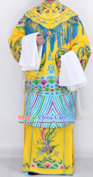 Chinese Traditional Peking Opera Empress Costumes Ancient Queen Yellow Embroidered Robe for Women