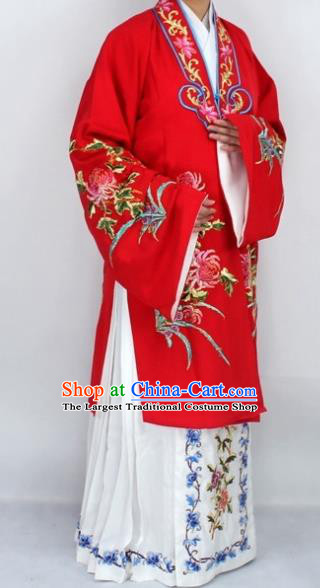 Chinese Traditional Peking Opera Diva Costumes Ancient Princess Embroidered Chrysanthemum Red Dress for Women