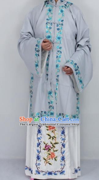 Chinese Traditional Peking Opera Diva Grey Costumes Ancient Princess Embroidered Cloak for Women