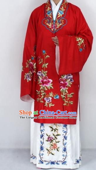 Chinese Traditional Peking Opera Nobility Lady Red Costumes Ancient Princess Embroidered Cloak for Women
