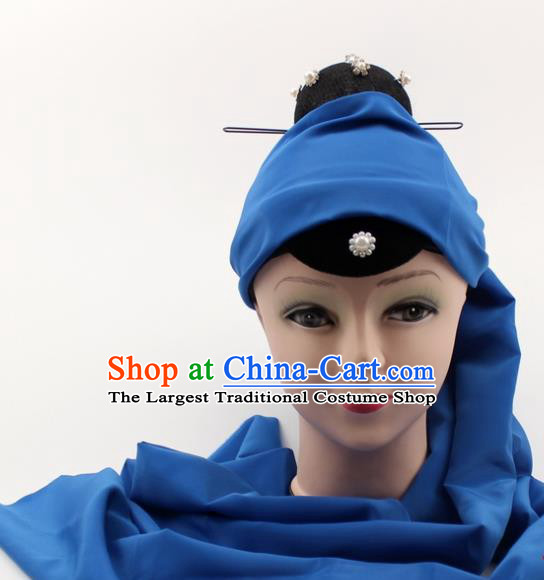 Chinese Traditional Peking Opera Pantaloon Hair Accessories Ancient Dowager Countess Blue Headcloth for Women