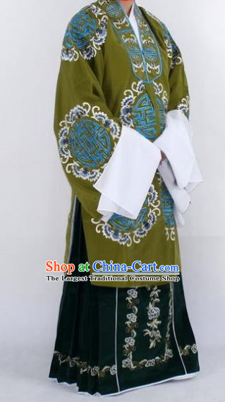 Chinese Traditional Peking Opera Pantaloon Costumes Ancient Landlord Shiva Green Cloak for Women