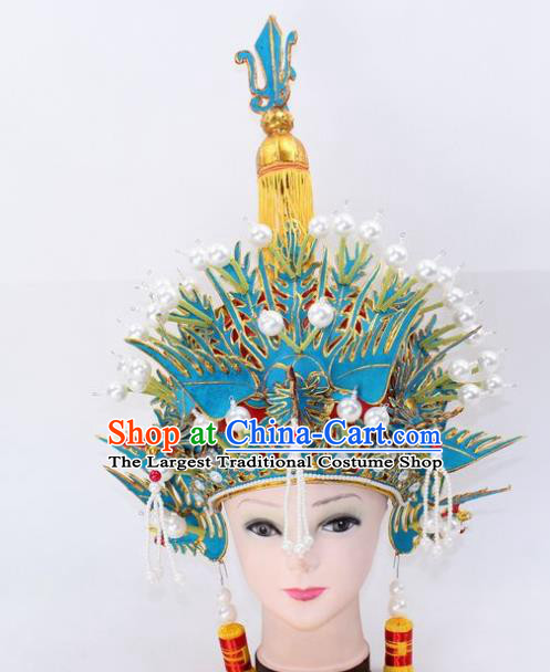 Chinese Traditional Peking Opera Pantaloon Phoenix Helmet Ancient Female General Hat for Women