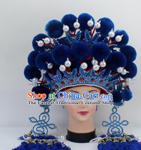 Chinese Traditional Peking Opera Royalblue Venonat Phoenix Coronet Ancient Bride Hair Accessories for Women