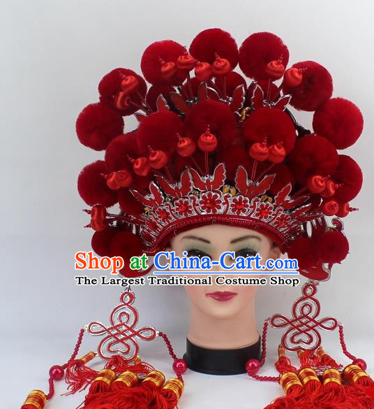 Chinese Traditional Peking Opera Red Venonat Phoenix Coronet Ancient Bride Hair Accessories for Women