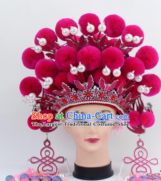 Chinese Traditional Peking Opera Rosy Venonat Phoenix Coronet Ancient Bride Hair Accessories for Women